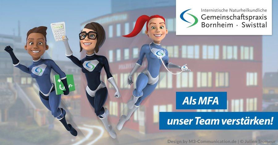 Praxisklinik Bornheim bei Köln-Bonn sucht Medizinische Fachangestellte / MFAs (w/m) - Anzeigenkampagne zur Personalsuche - Design by M3-Communication.de, Urhebervermerk Julien Tromeur